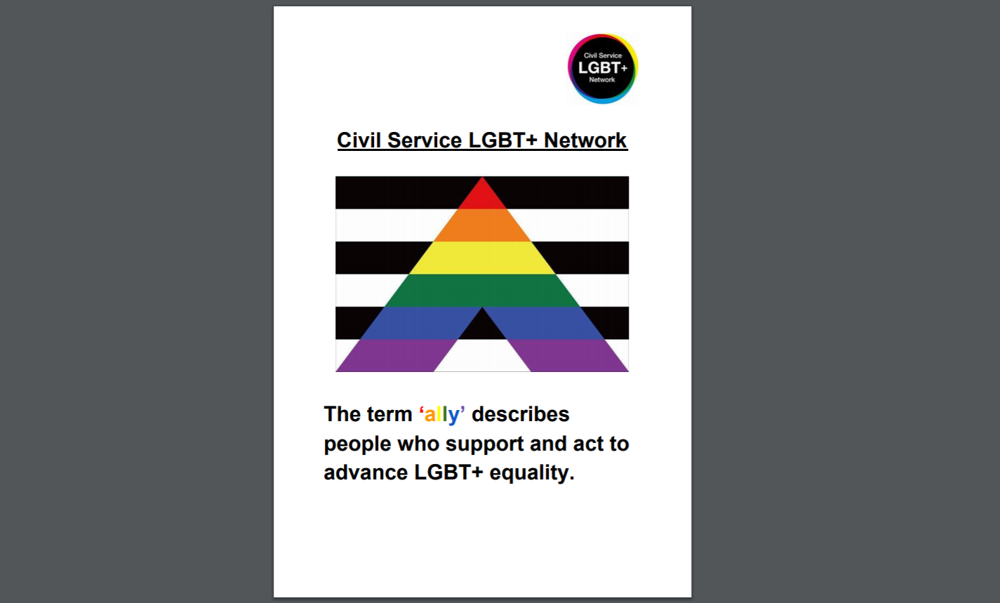 The front cover of the ally resources
