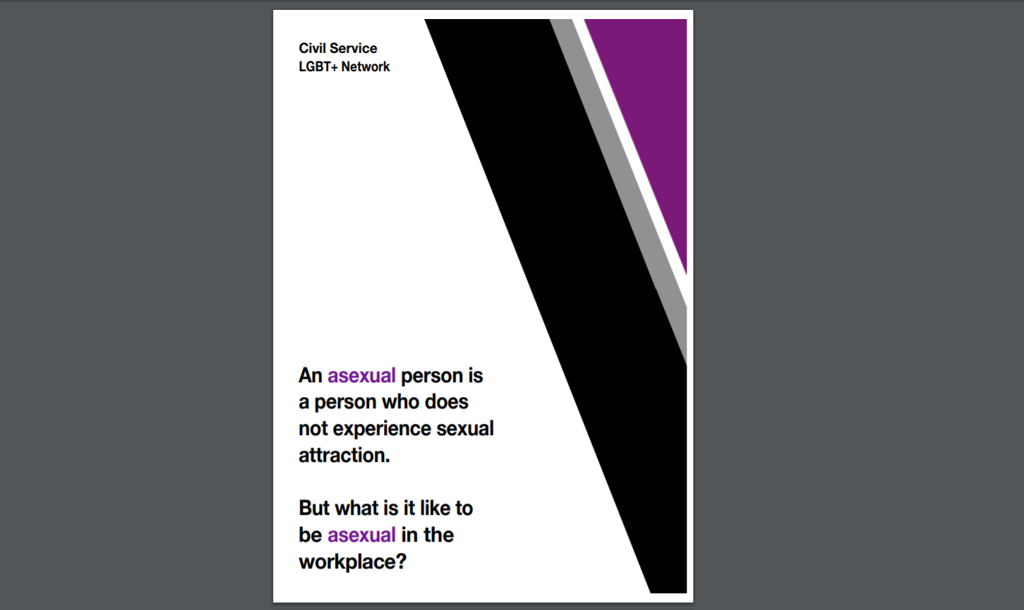 The front cover of the new asexuality fact sheet